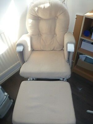 Reclining Glider Nursing Chair - White with beige cushion - in good condition