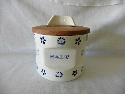 Vintage Pottery Hanging Salt Box with Wooden Lid - Blue Design