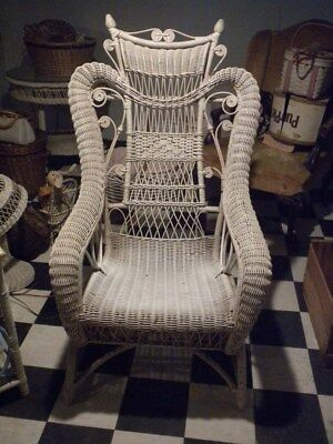Elegant Antique White Wicker Rocker