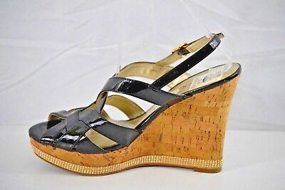 dcc3917728e1 GUESS WOMENS BLACK Patent Leather Cork Wedge Sandal Size 9 -  19.89 ...