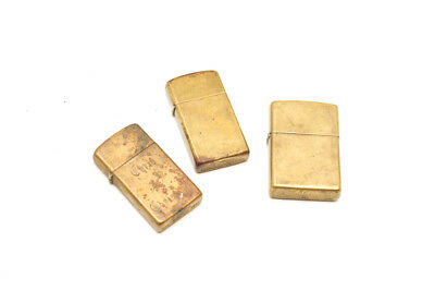 VINTAGE SOLID BRASS LOT 3 E ZIPPO XIII  & 2 1932 - 1989  Slim Free Shipping
