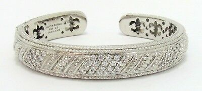 Judith Ripka Sterling Silver Diamonique Pave Textured Hinged Bangle Bracelet