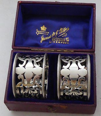 Boxed Pair Art Nouveau Hallmarked Solid Silver Napkin Rings Serviette Ring 1903