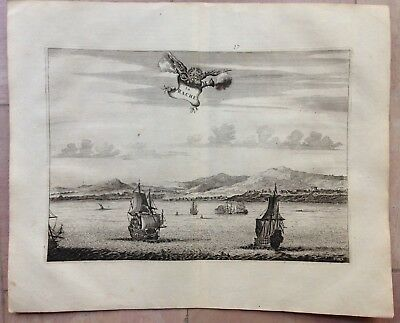 MOROCCO LARACHE 1676 Olfert DAPPER RARE ANTIQUE COPPER ENGRAVED VIEW 17e CENTURY