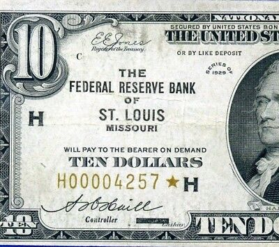 *Rare 1929 $10 FRBN (( St. Louis STAR )) National Currency  4-Digit # H00004257*