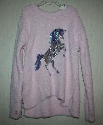 NWT Justice Girl's sz 8 Pink Fuzzy Critter Sweater Sequin Unicorn Top Shirt