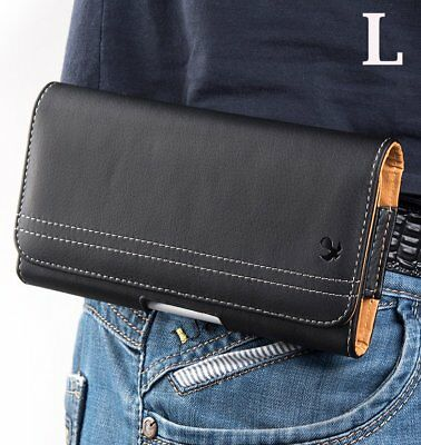 """iPhone XS Max 6.5"""" -BLACK Horizontal Leather Pouch Holder Belt Clip Holster Case"""