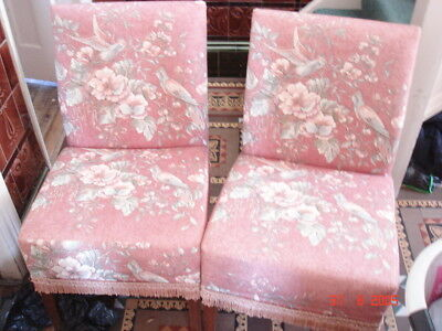 Vintage Rose Colour Low Bedroom Chairs X 2