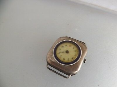an antique silver - 925- cased square dialled watch with red 12
