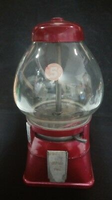 5 cent candy gum ball machine Vintage WORKS Red Original Key Glass dome Metal