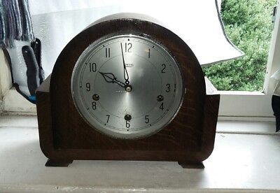 Vintage Art Deco 'Smiths Enfield' 8-Day Mantel Clock - Westminster Chimes No Key
