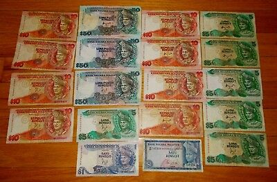 262 Malaysia Ringgit 19 pieces banknote lot