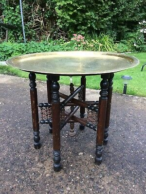 Vintage PERSIAN Brass Top Table + wooden collapsible table