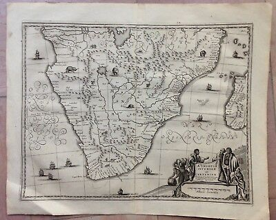 SOUTH AFRICA 1676 Olfert DAPPER UNUSUAL ANTIQUE COPPER ENGRAVED MAP 17TH CENTURY