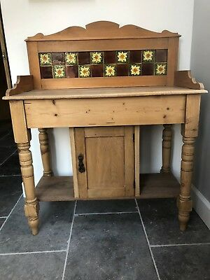 Antique Victorian Washstand with Tiled Back