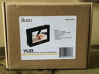 "ikan VL35 3.5"" 4K HDMI On-Camera LCD Monitor with Canon LP-E6 Battery Plate NEW"