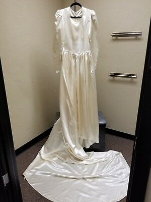 Classic1940s Rayon Satin Champgne Wedding Dress Kailes Orig. Box 36M
