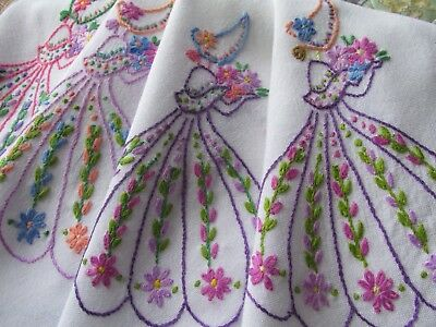 Vintage Hand Embroidered Tablecloth-CRINOLINE LADIES AND FLORAL'S