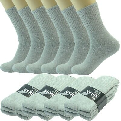 3-12 Pairs Mens Gray Solid Sports Athletic Work Crew Socks Cotton Size 10-13