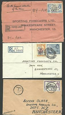 (990036) Nigeria  1957/59   3 QE covers used to Great Britain