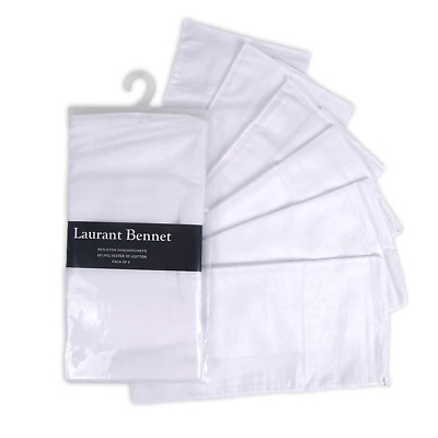 Men's 6 Pack Solid White Cotton and polyester Premium Handkerchiefs,  FREE SHIP