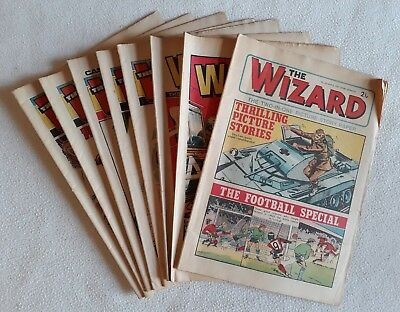8 Issues of The Wizard 1971 to 1975 Mix - All Good to Very Good