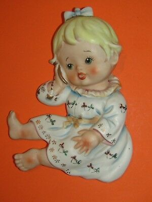Vintage Lefton/Norcrest? Japan Bisque Baby Girl on phone wall plaque