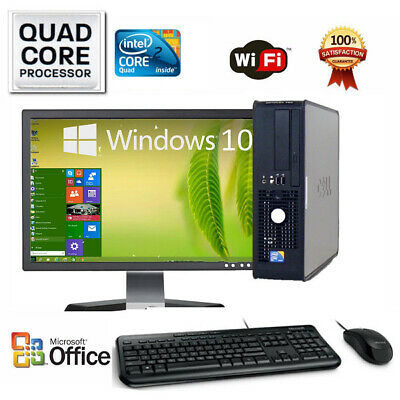 CLEARANCE!!! Fast Dell Desktop Computer PC Dual Core WINDOWS 10/7 LCD + KB + MS