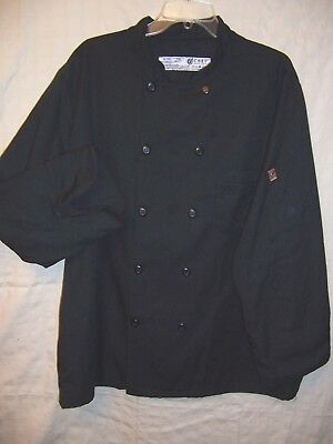 Chef Designs Coat - size XL - black polyester, long sleeves, buttons either way