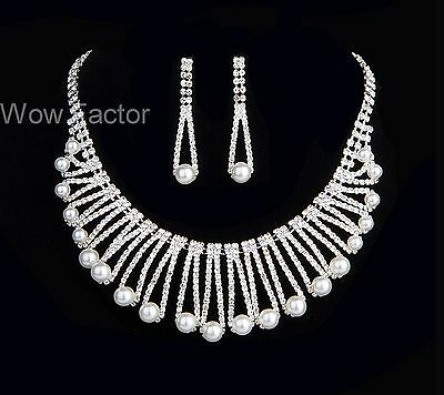 White Pearl Diamante Crystal Silver Plated Wedding  Bridal Jewellery Set