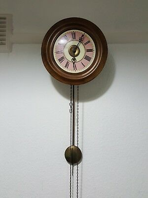 Antique Postman's Alarm Wag On The Wall Clock Complete .With weights pendulum.