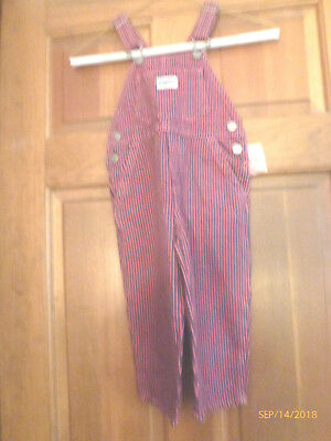 Oshkosh Red Blue Striped Bib Jeans Overalls New With Tag 2 Toddler