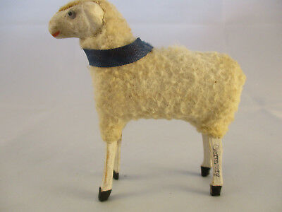 Vintage Wooly Sheep with Stick Legs and Blue Neck Ribbon ~ German