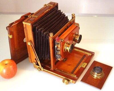 WORKING MAHOGANY STEREO 1/2 plate FIELD CAMERA + SHUTTER 3 LENSES, D.D.S 1900