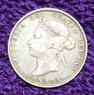 1874H Canada Silver 25 Cents = Quarter Nice Coin