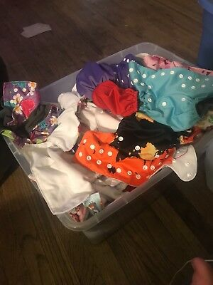 cloth diaper lot used alvas, bumgenius, fuzzibuns, bamboo inserts,