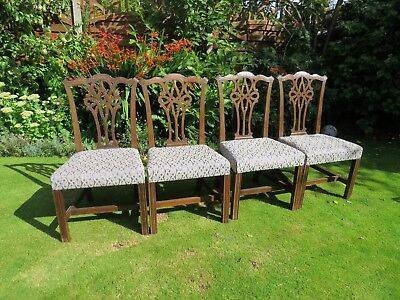 Set 4 Victorian solid mahogany dining chairs c1900
