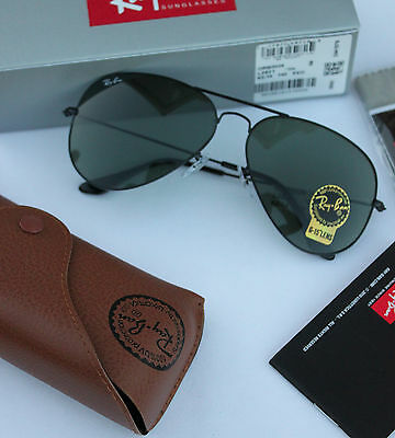 2b9cae21a4 New Authentic Ray Ban Aviator Rb3025 L2823 58Mm Green G-15 Lens Black Frame