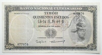 Timor - 500$00 - 1963 - Scarce - Excellent