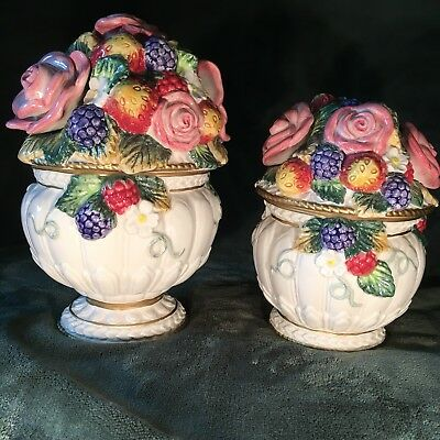 """2 FITZ & FLOYD Strawberries & Roses Lidded Canisters Jars Bowls  8"""" and 6 1/4"""""""