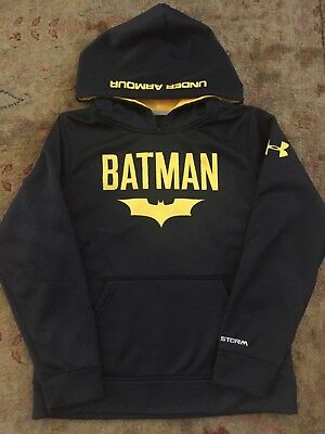 Under Armour Storm Batman Boys Youth Black Hooded Sweatshirt Hoodie YMD medium