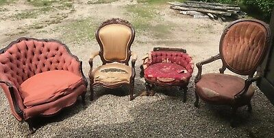 Lot Of Antique Victorian Furniture: Chairs, Sofa And More