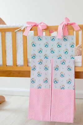 Pink & Blue Peter Rabbit Nappy Stacker/Toy Storage For A Girl. Ideal Baby Gift.