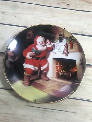 1993 Franklin Mint The Pause That Refreshes Santa Coca-Cola Plate w/Wall Hanger