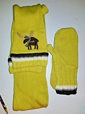 Janie and Jack Moose Scarf and Mittens Set