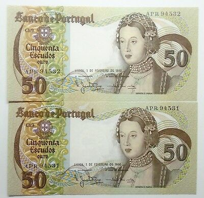 Portugal - 2 X 20$00 - 1980 - Running Numbers - Unc