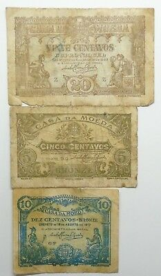 Portugal - 3 Banknotes - 10 And 20 Centavos - 1917/22 - Vg