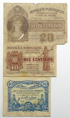 Portugal - 3 Banknotes - 10 And 20 Centavos - 1917/22 - Vg - #2