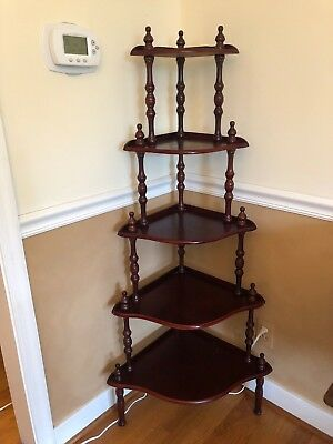 Vintage 5 Tier Corner Shelf Wood Display Stand Victorian Spindle Cherry Finish