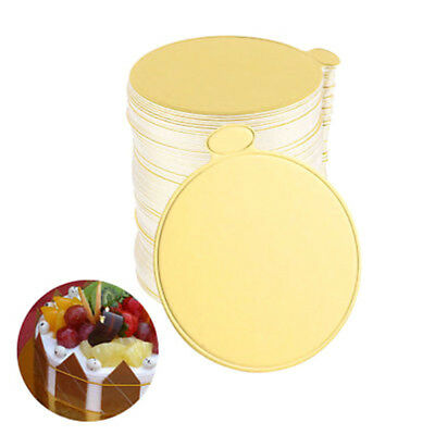100pcs Gold Round Mousse Cake Dish Boards Tray Wedding Birthday Pastry DecorWRDE